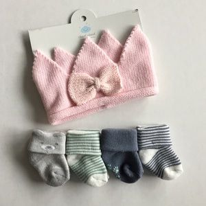 Baby Girl Socks (4 pairs) & Crown Head Wrap Bundle